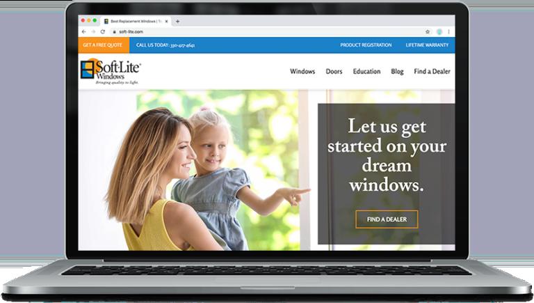 new soft-lite website on laptop